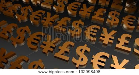 Currency Investment and Structured Pair Currencies as Art 3D Illustration Render