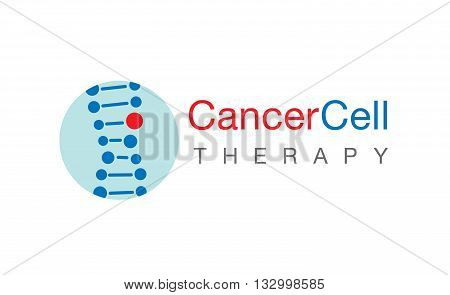 Logo cancer cell therapy vector on white background