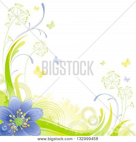 Floral summer background with blue snow drop flower, leafs, grass and grunge elements, copy space for your text