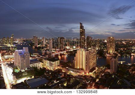 Bangkok, Thailand - May 28, 2016 : Bangkok Skyline With City Before Sunset Bangkok, Thailand