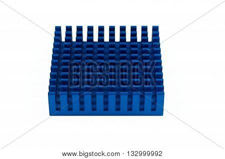 Blue aluminium computer chipset heatsink on white background