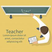 Teacher On Lesson Vector poster