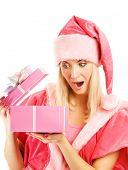 Постер, плакат: Красивая Миссис Санта с подарочной коробке