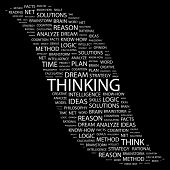 THINKING. Word collage on black background. Illustration with different association terms.