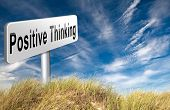 Постер, плакат: Positive thinking being an optimist and think positive Having a positivity attitude that leads to