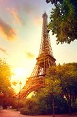 Paris. Eiffel Tower at sunrise, Paris, France. Beautiful Romantic background poster