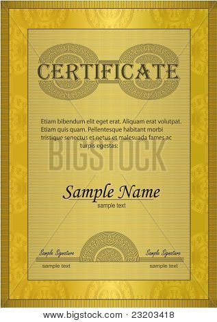 Certificate Gold Ornament Frame