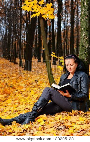 The Attractive Woman Reads The Book In Autumn Forest