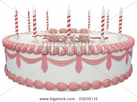 Side View Of Birthday Cake With Candles And Roses
