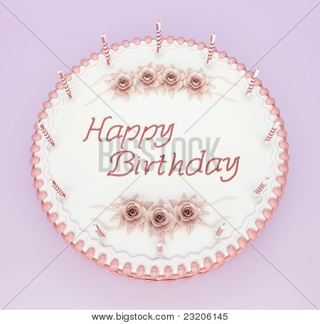 Top View Of Birthday Cake With Candles And Roses