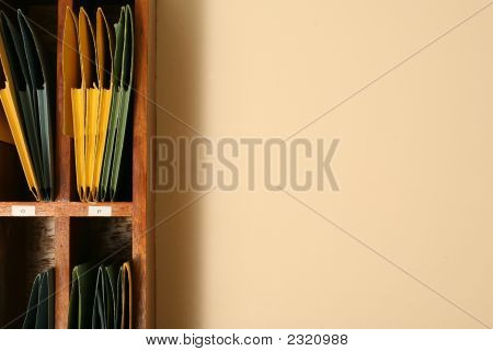 Folders With Files On A Shelf