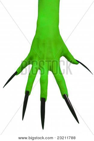 Witch's green hand.