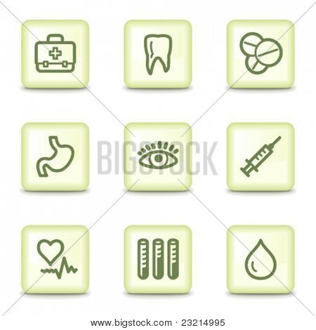 Medicine web icons set 1, salad green buttons