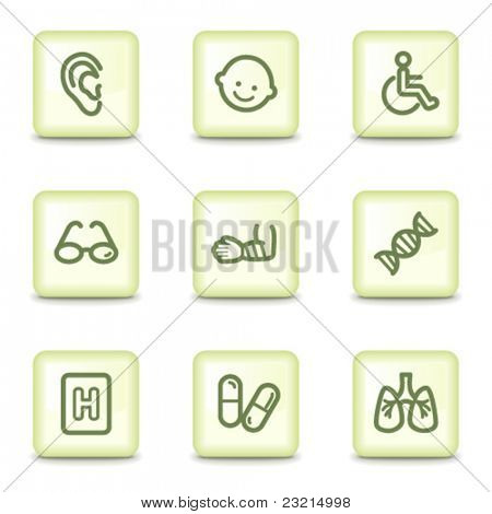 Medicine web icons set 2, salad green buttons
