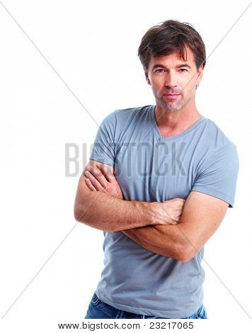 Happy handsome man. Isolated over white background.