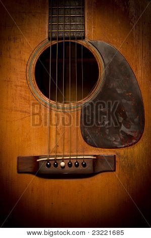 Close-up Of Old, Beat-up, Vintage Acoustic Guitar