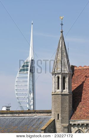 Spinnaker Tower and Church. Uk