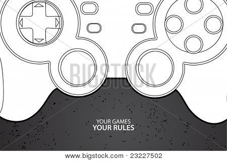 Vector console or PC joystick on black background