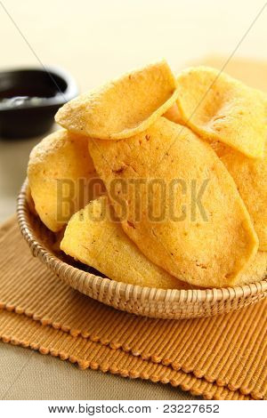Cracker [ Asian snack ] with chillie sauce
