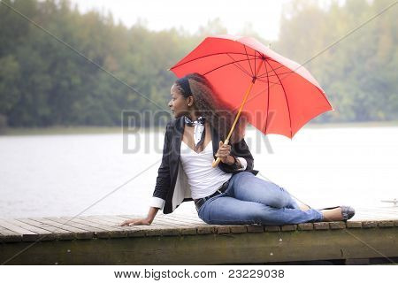 Woman holding an umbrella