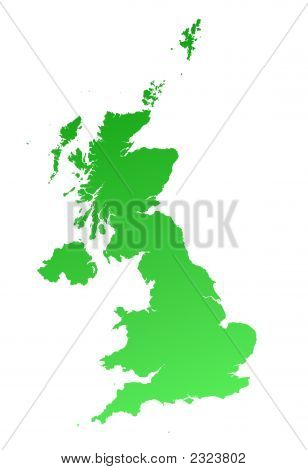 Green Gradient United Kingdom Map