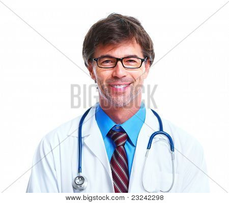 Smiling medical doctor with glasses. Over white background.