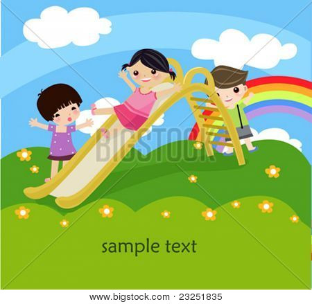 Illustration of three children playing on elephant shaped slide in summer.