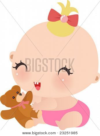 Vector illustration of little girl with her taddy