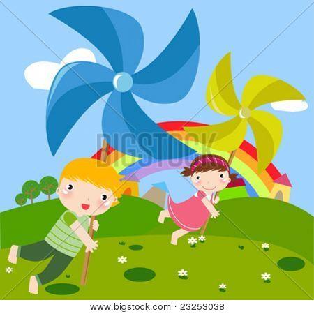 children and pinwheel