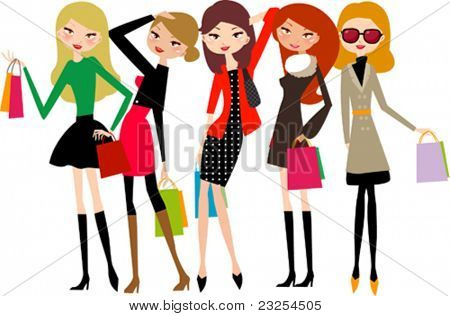 five beautiful girls on a shopping