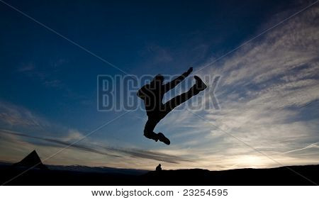 Silhouetted Jumping Kick to the Sky
