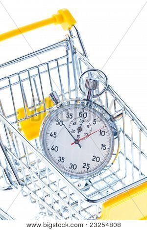 Stopwatch in a shopping cart