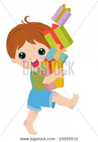 a kid and gift box
