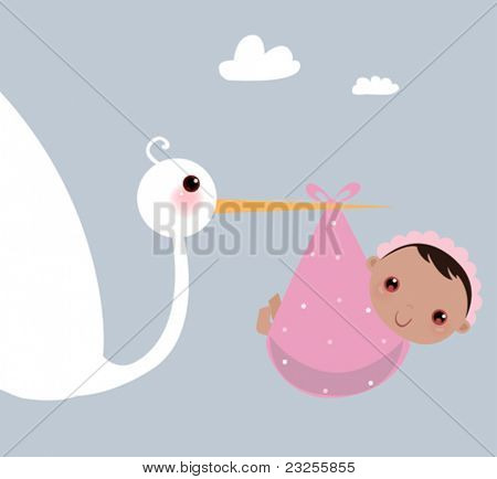 a stork that brings a baby girl
