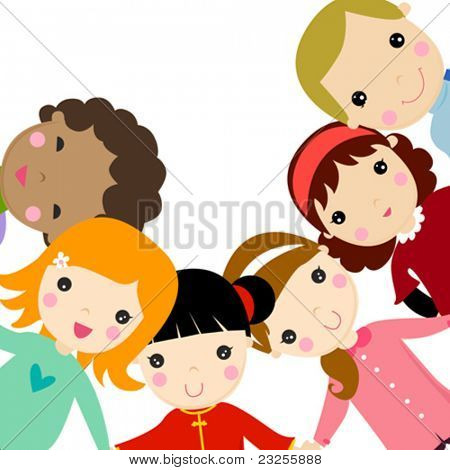 Stock Vector Illustration:  group of happy children