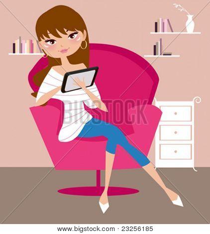 menina bonita com computador tablet
