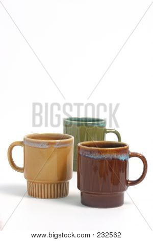 Coffee Cups Over White 564