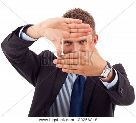 Business Man Making A Hand Frame