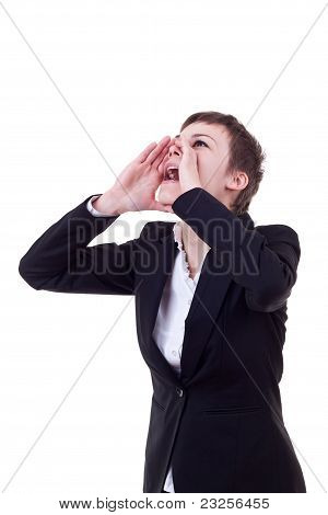 Business Woman Shouting