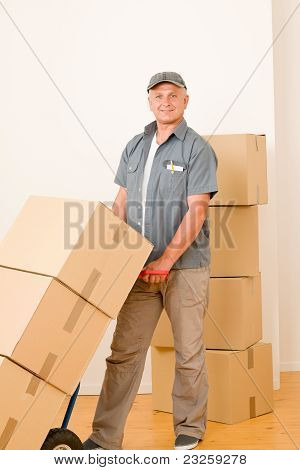 Messenger Mature Male Courier Delivering Parcels