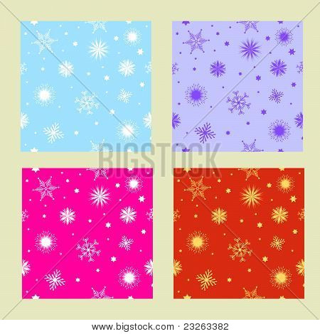 Christmas textures with snowflakes and stars