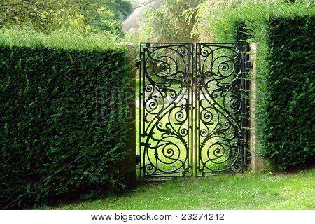 Black Wrought Iron Garden Gate