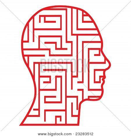 Maze head icon vector