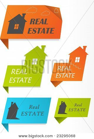 Paper stickers with houses, vector illustration