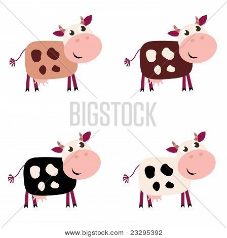 Cute Cow Set In 4 Different Colors Isolated On White Background..