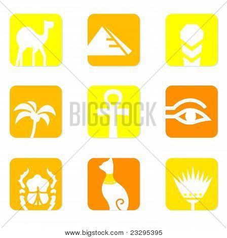 Egypt Icons And Design Elements Block Isolated On White ( Yellow, Orange ).
