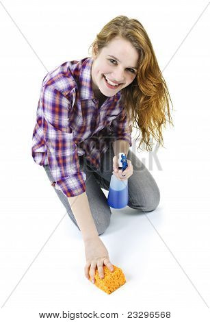 Young Woman Washing Floor