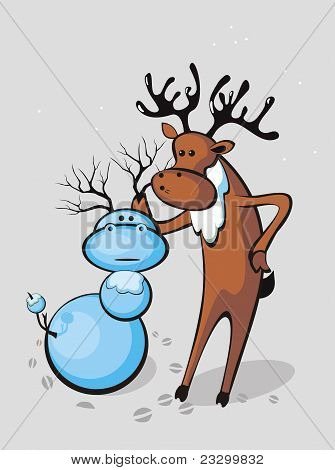 Veado esculpe o boneco de neve-veado