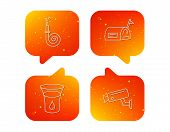Mailbox, Video Monitoring And Fire Hose Icons. Glass Of Water Linear Sign. Orange Speech Bubbles Wit poster