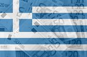 Flag Of Greece With Transparent Euro Banknotes In Background